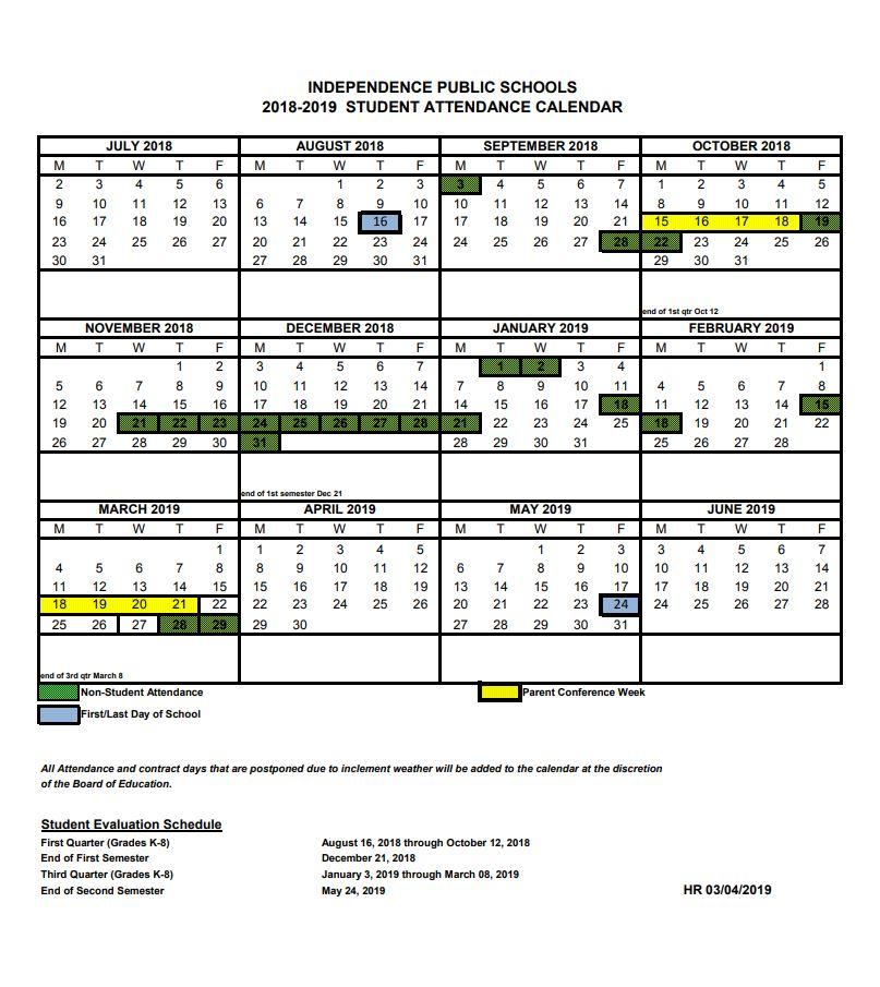 Student Calendar 2019 16 Student Calendar 2018 2019   Independence School District